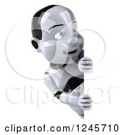 Clipart Of A 3d Baby Robot Looking Around A Sign Royalty Free Illustration by Julos