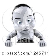 Clipart Of A 3d Baby Robot Looking Down At A Sign Royalty Free Illustration by Julos