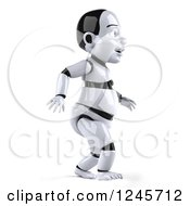 Clipart Of A 3d Baby Robot Walking To The Right Royalty Free Illustration by Julos