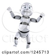 Clipart Of A 3d Baby Robot Jumping Royalty Free Illustration by Julos