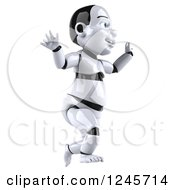 Clipart Of A 3d Baby Robot Running Royalty Free Illustration by Julos