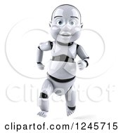 Clipart Of A 3d Baby Robot Running 2 Royalty Free Illustration by Julos