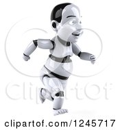 Clipart Of A 3d Baby Robot Running 4 Royalty Free Illustration by Julos