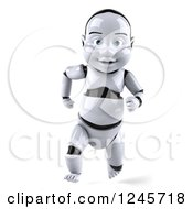 Clipart Of A 3d Baby Robot Running 5 Royalty Free Illustration by Julos