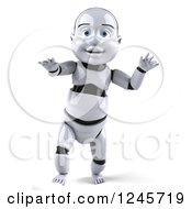 Clipart Of A 3d Baby Robot Walking Royalty Free Illustration by Julos