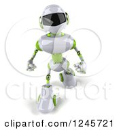 Clipart Of A 3d White And Green Robot Walking Royalty Free Illustration