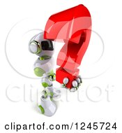 Clipart Of A 3d White And Green Robot Holding A Question Mark 3 Royalty Free Illustration