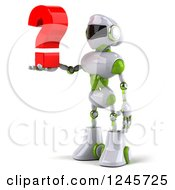 Clipart Of A 3d White And Green Robot Holding A Question Mark 2 Royalty Free Illustration