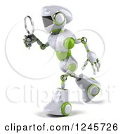 Clipart Of A 3d White And Green Robot Searching With A Magnifying Glass Royalty Free Illustration