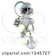 Clipart Of A 3d White And Green Robot Searching With A Magnifying Glass 2 Royalty Free Illustration