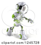 Clipart Of A 3d White And Green Robot Searching With A Magnifying Glass 3 Royalty Free Illustration