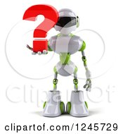 Clipart Of A 3d White And Green Robot Holding A Question Mark Royalty Free Illustration