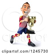 Clipart Of A 3d Male Spanish Soccer Player Running With A Trophy Royalty Free Illustration