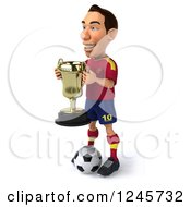 Clipart Of A 3d Male Spanish Soccer Player Holding A Trophy Royalty Free Illustration