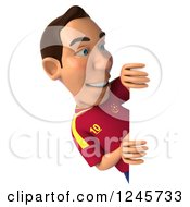 Clipart Of A 3d Male Spanish Soccer Player Looking Around A Sign Royalty Free Illustration