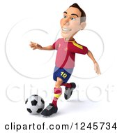 Clipart Of A 3d Male Spanish Soccer Player Kicking Royalty Free Illustration