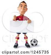 Clipart Of A 3d Male Spanish Soccer Player Holding A Thumb Down Over A Sign Royalty Free Illustration