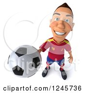Clipart Of A 3d Male Spanish Soccer Player Holding Up A Ball Royalty Free Illustration