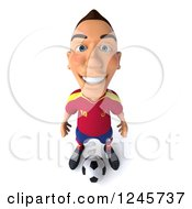 Clipart Of A 3d Male Spanish Soccer Player Standing Over A Ball 3 Royalty Free Illustration