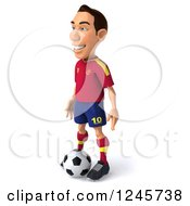 Clipart Of A 3d Male Spanish Soccer Player Standing Over A Ball 2 Royalty Free Illustration