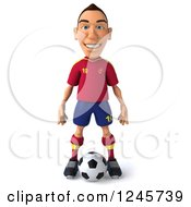 Clipart Of A 3d Male Spanish Soccer Player Standing Over A Ball Royalty Free Illustration