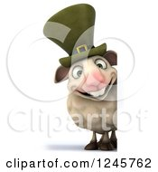 Clipart Of A 3d Irish Sheep Over A Sign 3 Royalty Free Illustration