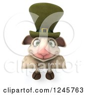 Clipart Of A 3d Irish Sheep Over A Sign Royalty Free Illustration