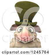Clipart Of A 3d Irish Sheep Over A Sign 2 Royalty Free Illustration