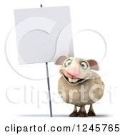 Clipart Of A 3d Happy Sheep By A Blank Sign Royalty Free Illustration