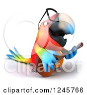Clipart Of A 3d Bespectacled Macaw Parrot Playing A Guitar Royalty Free Illustration