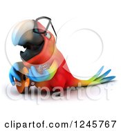 Clipart Of A 3d Bespectacled Macaw Parrot Playing A Guitar 2 Royalty Free Illustration