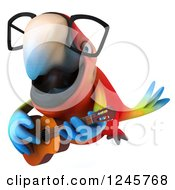 Clipart Of A 3d Bespectacled Macaw Parrot Playing A Guitar 3 Royalty Free Illustration
