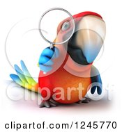 Clipart Of A 3d Macaw Parrot Looking Through A Magnifying Glass Royalty Free Illustration