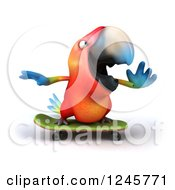 Clipart Of A 3d Macaw Parrot Skateboarding Royalty Free Illustration