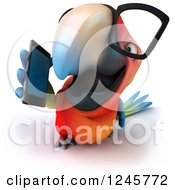 Clipart Of A 3d Bespectacled Macaw Parrot Talking On A Cell Phone Royalty Free Illustration