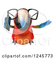 Clipart Of A 3d Bespectacled Macaw Parrot Flying And Talking On A Cell Phone Royalty Free Illustration