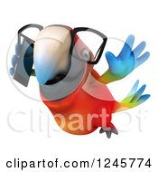 Clipart Of A 3d Bespectacled Macaw Parrot Flying And Talking On A Cell Phone 2 Royalty Free Illustration