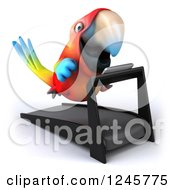 Clipart Of A 3d Macaw Parrot Running On A Treadmill Royalty Free Illustration