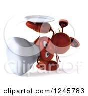 Clipart Of A 3d Chef Lobster Cartwheeling With A Plate Royalty Free Illustration