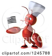 Clipart Of A 3d Chef Lobster Holding A Breton Flag Royalty Free Illustration
