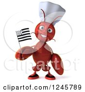 3d Chef Lobster Holding A Breton Flag 2