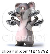 Clipart Of A 3d Koala Working Out With Dumbbells 4 Royalty Free Illustration