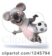 Clipart Of A 3d Koala Playing Soccer 7 Royalty Free Illustration