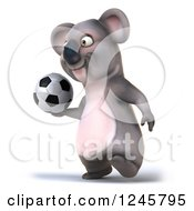 Clipart Of A 3d Koala Playing Soccer 8 Royalty Free Illustration