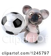 Clipart Of A 3d Koala Holding Up A Soccer Ball Royalty Free Illustration