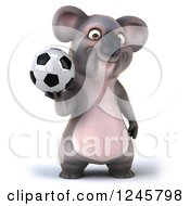 Clipart Of A 3d Koala Playing Soccer 5 Royalty Free Illustration