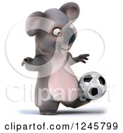 Clipart Of A 3d Koala Playing Soccer 6 Royalty Free Illustration