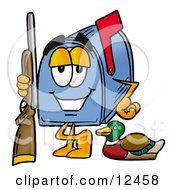 Clipart Picture Of A Blue Postal Mailbox Cartoon Character Duck Hunting Standing With A Rifle And Duck by Toons4Biz