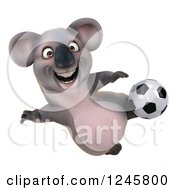 Clipart Of A 3d Koala Playing Soccer 3 Royalty Free Illustration