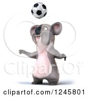 Clipart Of A 3d Koala Playing Soccer 4 Royalty Free Illustration